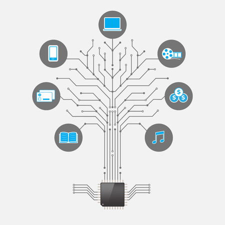 Set of infographics and icons Social Media. Icons of network and technology in the form of a tree with chip processor Vector