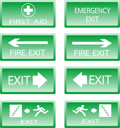 smoke alarm: Button Green safety sign. Vector emergency exit signs set on green background