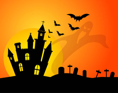 castle silhouette: Castle silhouette and ghost .Used as a background for Halloween. Vector illustration