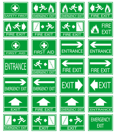 Green safety sign. Vector emergency exit signs set on green background Illustration