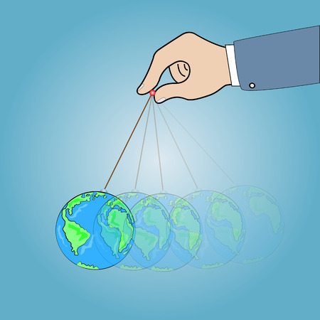 dangling: Concept ,Hand with dangling globe,vector  illustration