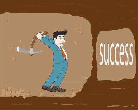 prospector: Concepto de negocio, hombre de negocios excavación a encontrar el éxito en la cueva