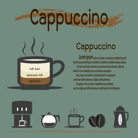 robusta: Coffee types, Cappuccino coffee and their preparation Infographic,Vector illustration.