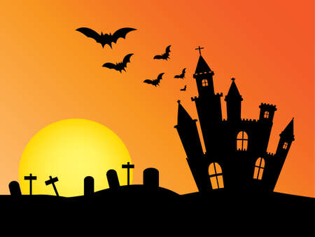 castle silhouette: Castle silhouette and sun .Used as a background for Halloween. Vector illustration