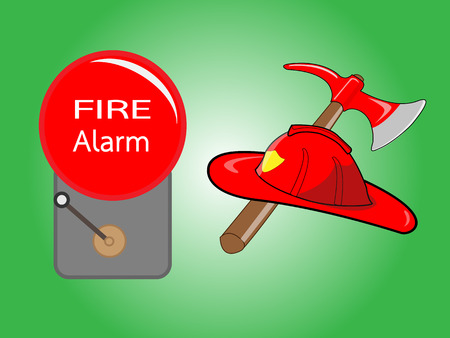 evacuation equipment: Firefighter helmet with crossed axe and Alarm bell on green background. Vector illustration.
