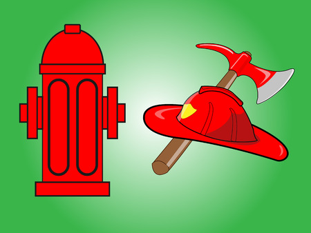 plug hat: Firefighter helmet with crossed axe and Red fire hydrant isolated on green background