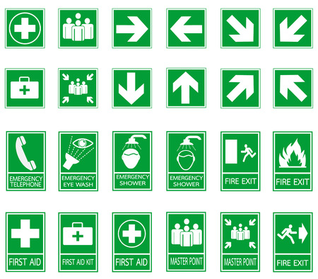 Green safety sign. Vector emergency exit signs set on green background 일러스트