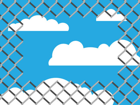 link fence: Hole on chain link fence with copy space on blue sky background