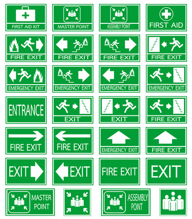 Green safety sign. Vector emergency exit signs set on green background Stock Illustratie