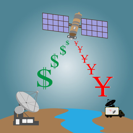 Satellite transmit signal from earth to  broadcast car with satellite dish through space with dollars sign