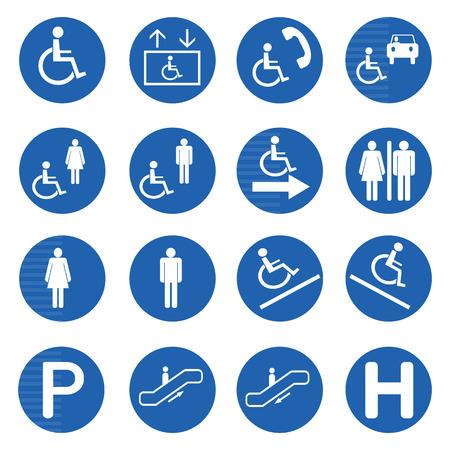 Blue circle handicap signs with wheelchair vector set, Vector illustration Vector