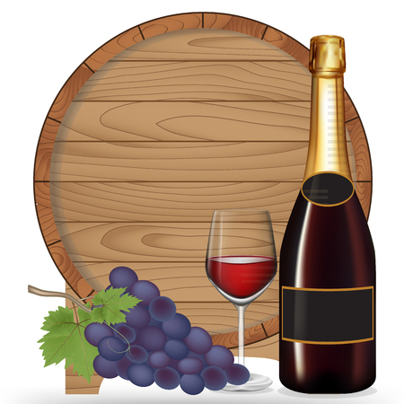 Bottle wine,Grape,Glass wine and wooden barrel isolated on white blackground,Vector illustration Vector