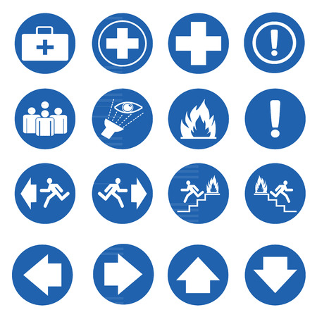 Blue circle safety sign. Vector emergency exit signs set Illustration