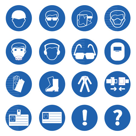 directives: Mandatory signs, Construction health and safety sign used in industrial applications.Vector illustration