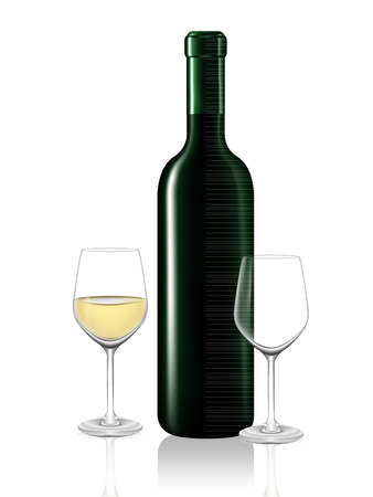 White wine bottle and two wine glass on white background. Vector illustration Vector