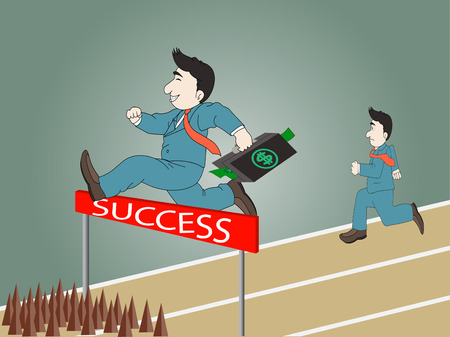 Businessman jumping over hurdle on a running track on the way to success with briefcase,vevtor eps 10 Vector