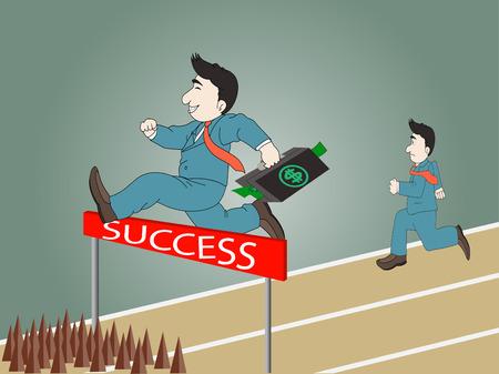 running track: Zakenman springen over hindernis op een atletiekbaan op de weg naar succes met een aktetas, Vevtor eps 10 Stock Illustratie