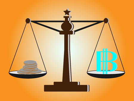 offence: Vintage scales with baht sign and coins on balance scale Illustration