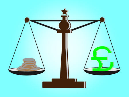 offence: Vintage scales with franc sign and coins on balance scale
