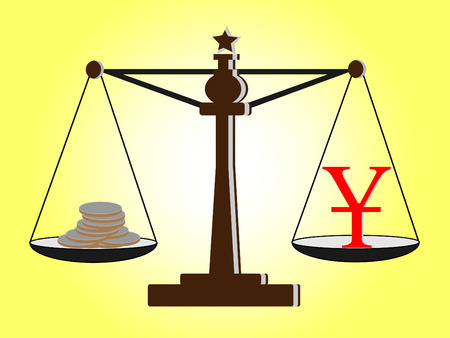 yuan: Vintage scales with  Yuan sign and coins on balance scale Illustration