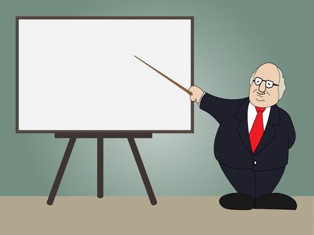 Professor presentation on whiteboard in classroom,Vector illustration Vector