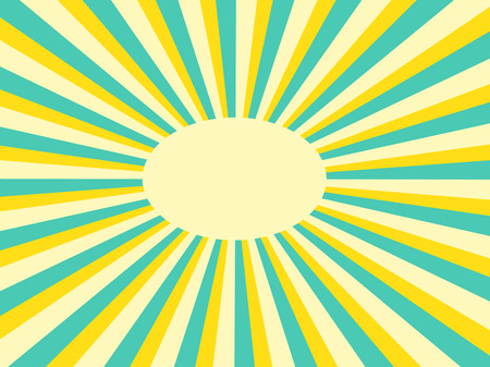 Vector background sun rays with green and yellow retro color