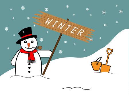 Snowman on Christmas background, Vector illustration of winter snowman Vector