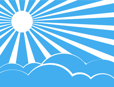 Sun rays with blue and white retro color behind the clouds,Vector illustration Vector