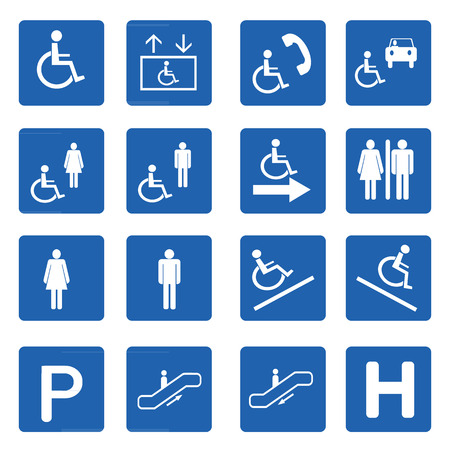 Blue square handicap signs with wheelchair vector set, Vector illustration Vector