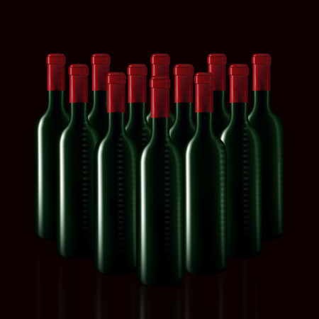 Bottles of wine in rows on black baground,Vector illustration Vector