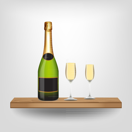 liquid crystal display: Champagne bottle and glass on wood shelf on white background, Vector illustration