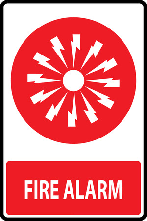 Fire alarm emergency signs and symbols.Vector illustration Vector