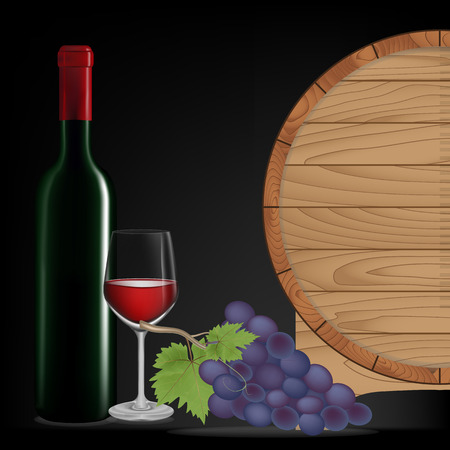 Grape,Bottle wine,Glass wine and wooden barrel isolated on black blackground,Vector illustration Vector