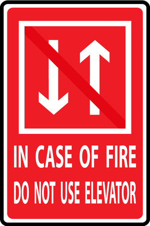 In case of fire do not use elevator, vectors illustration Vector