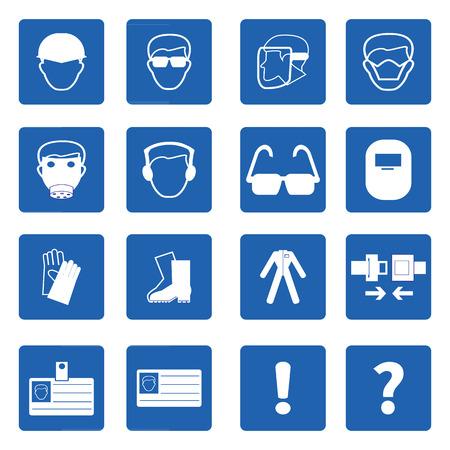 señales de seguridad: Señales de obligación, la salud Construcción y señal de seguridad utilizados en la ilustración applications.Vector industrial