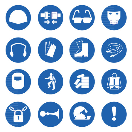 Mandatory signs, Construction health and safety sign used in industrial applications.Vector illustration