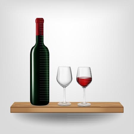 red wine bottle: Botella de vino rojo y el vidrio en el estante de madera sobre fondo blanco, ilustraci�n vectorial