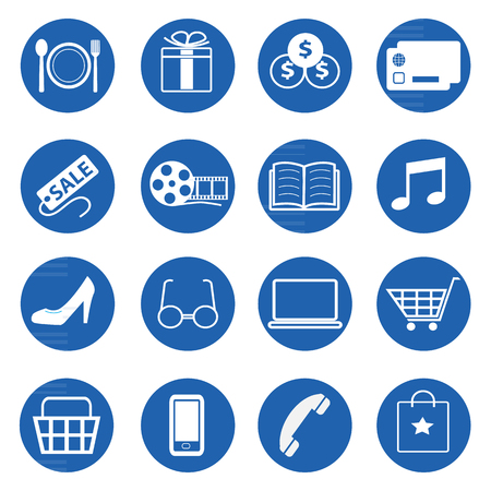 plaza: Vector collection of shopping icons set for web or mobile projects
