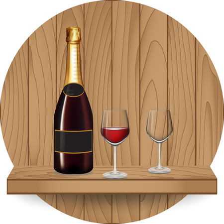 Wine bottle and glass on wood shelf, Vector illustration Vector