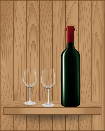 Wine bottle and glass on wood shelf modern design, Vector illustration Vector