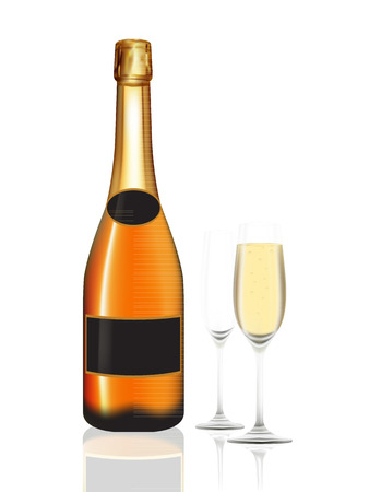 champagne orange: Champagne orange bottle and two champagne glass on white background. Vector illustration