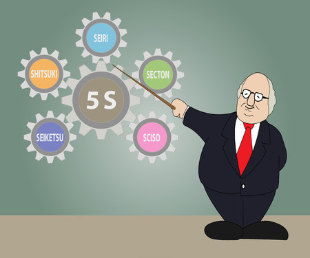 old man standing: Old man standing in front of presentation gear of 5S Kaizen circle.Vector illustration Illustration