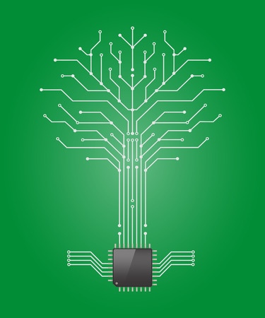 computer science: Circuit board pattern in the shape of the tree with chip processor root,Vetor illustration