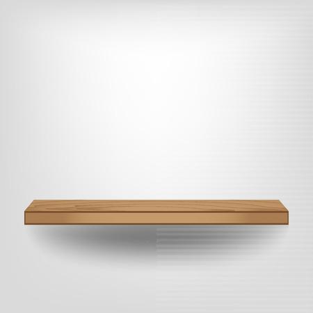 Empty wood shelf on white background, Vector illustration Vector