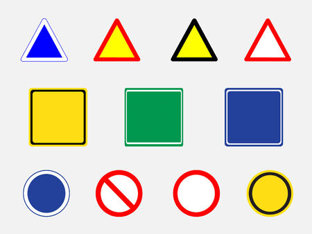 Blank road signs  collection . Used for  Symbol traffic background.Vector illustration Vector