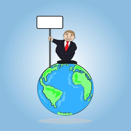 Businessman wearing suit holding a sign board on the wold ,Vector illustration Vector