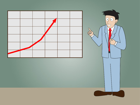 progressive: Businessman standing in front of whiteboard, presentation progressive arrow chart.