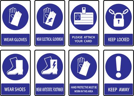 Gebodsborden, gezondheid Bouw en veiligheid teken gebruikt in industriële toepassingen. Stockfoto - 32182592