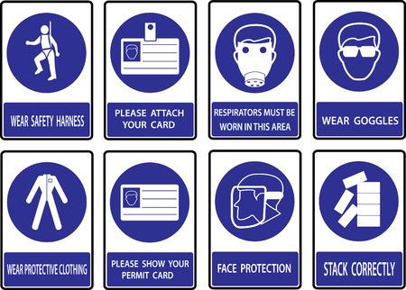 calzado de seguridad: Se�ales de obligaci�n, de salud y de las se�ales de seguridad de construcci�n utilizado en aplicaciones industriales. Vectores