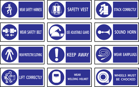 protect safety: Mandatory  signs , Construction health and safety sign used in industrial applications.